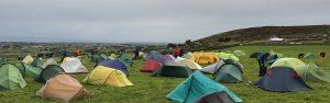 Coloured tents grey sky