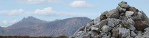 View of cairn infront of Slieve Binnian