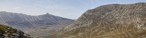 View of Mourne Mountains with contour lines