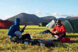 Musicians at campsite